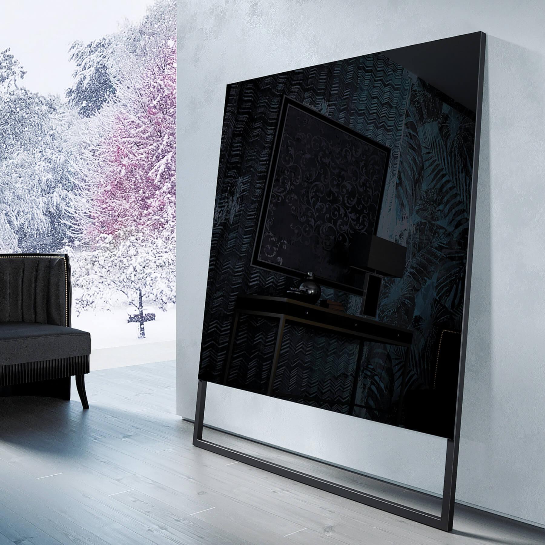 Зеркальный телевизор Tele-Art 49″ Q70SM black glass 1