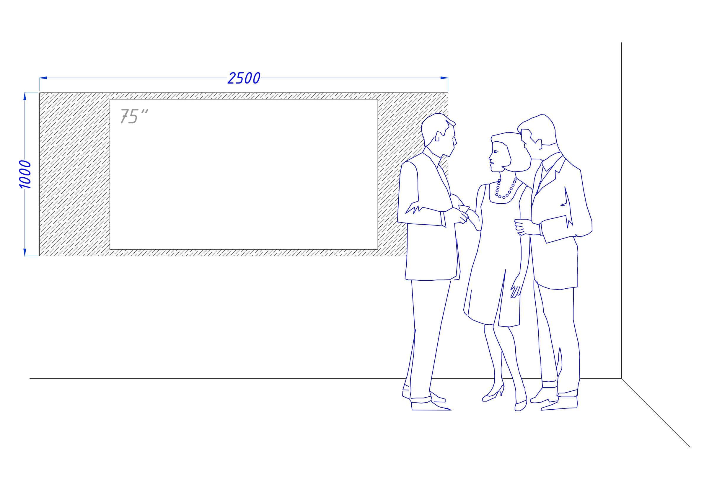 Чертеж встроенного телевизора Tele-Art 75″ Q6W