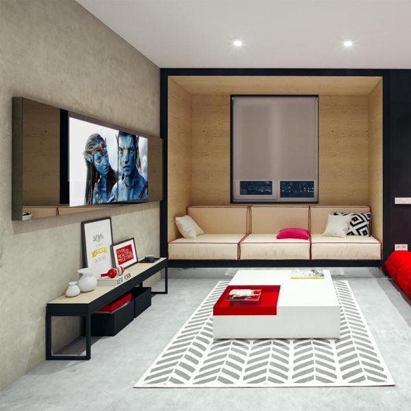 Встроенный телевизор Tele-Art 49″ Q6W Magic Titan Mirror во включенном состоянии