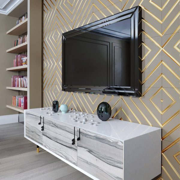 Встроенный телевизор Tele-Art Q70B black glass 4