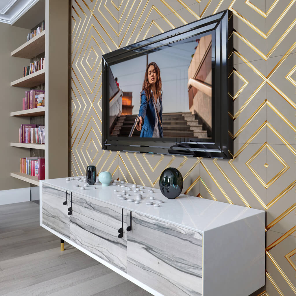 Встроенный телевизор Tele-Art Q70B black glass