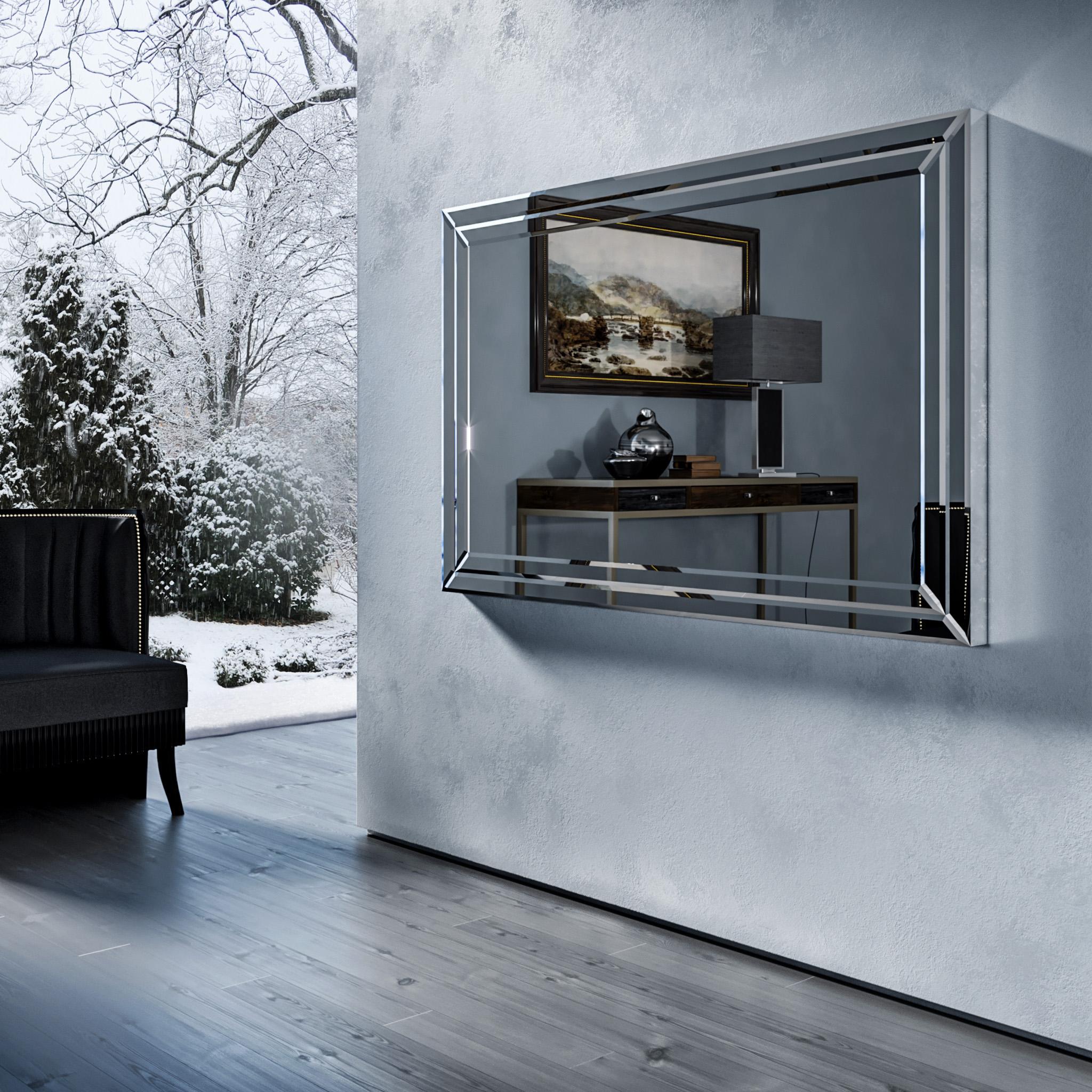 Зеркальный телевизор Tele-Art Q6B Crystal Frame Grafit Mirror в выключенном состоянии