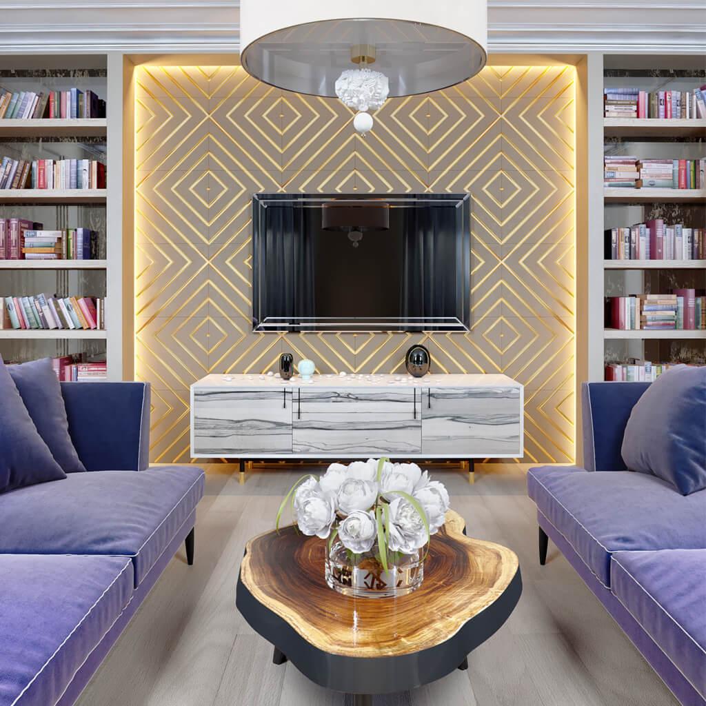 Зеркальный телевизор Tele-Art QBM в гостиной