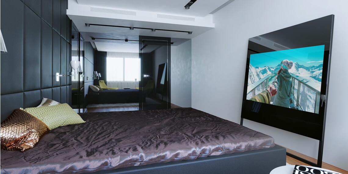 Дизайнерский встроенный телевизор в спальню