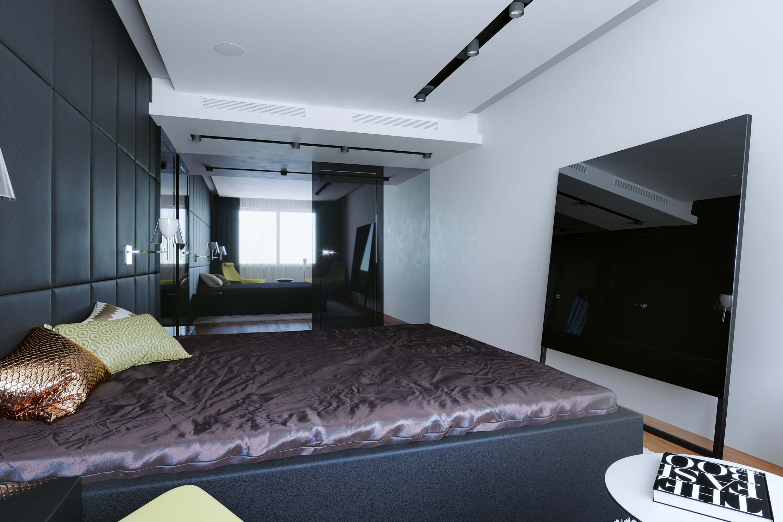Телевизор за стеклом для спальной комнаты