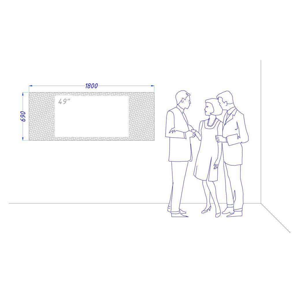 Чертеж встроенный телевизор Tele-Art 49″ Q6W Magic Titan Mirror