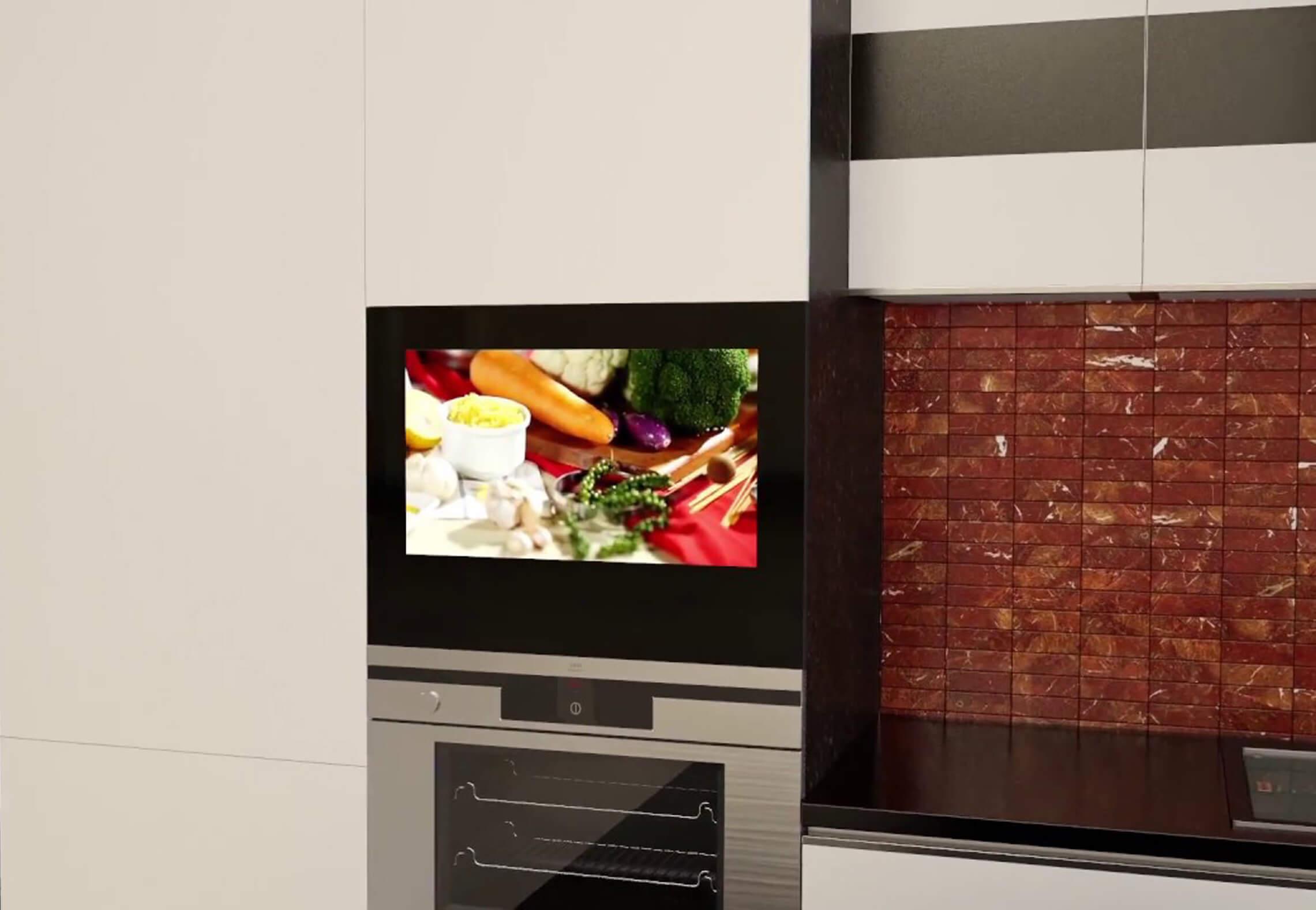 телевизор на кухню в кухонный шкафчик