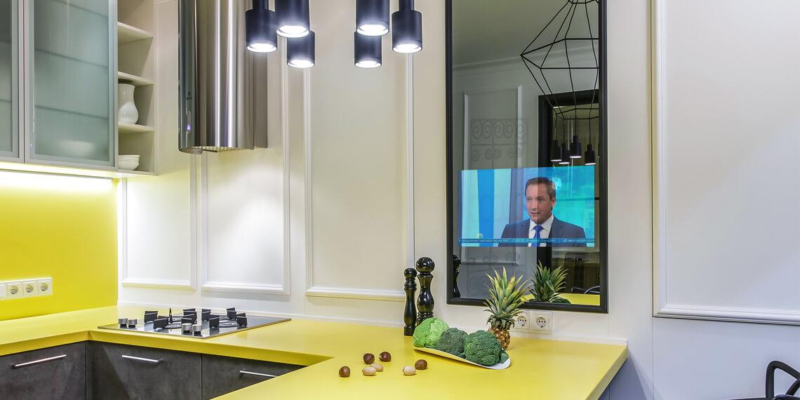 встроенный зеркальный телевизор Tele-Art для кухни