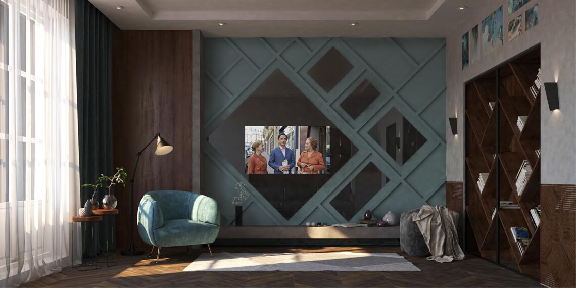 Встроенный телевизор в гостинную комнату