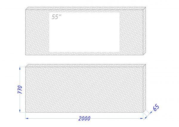 Чертеж встроенного телевизора Tele-Art 55″ Q70W Black Glass