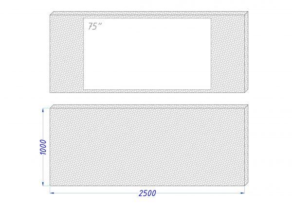 Чертеж встроенного телевизора Tele-Art 75″ Q70W Black Glass