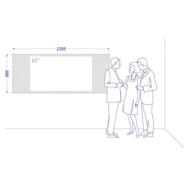 Чертеж встроенного телевизора Tele-Art 65″ Q70W