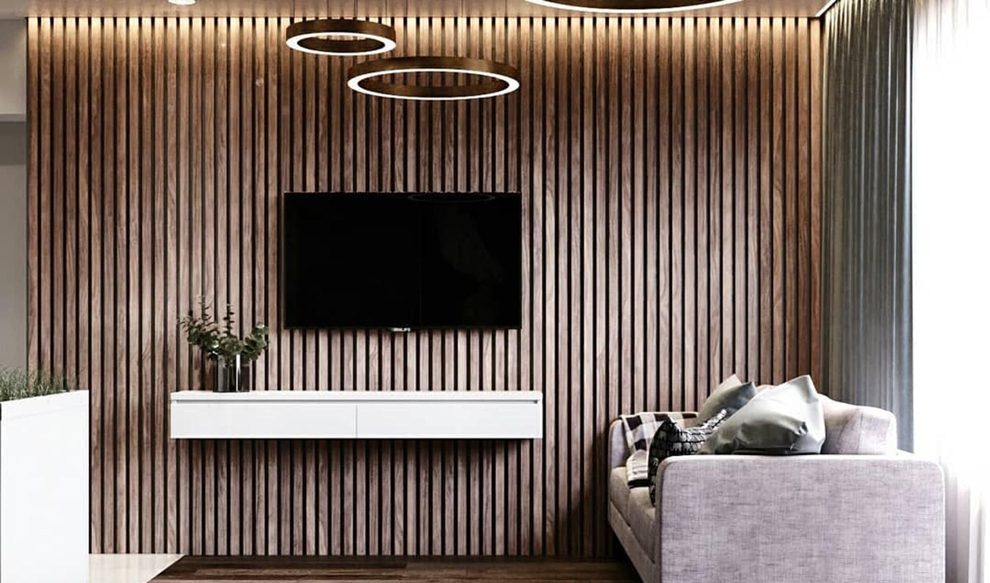 Деревянные рейки с ТВ 2