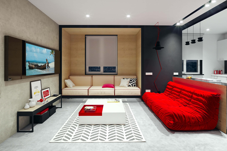Зеркальный телевизор Tele-Art 49″ Q6W Black Mirror в гостиной