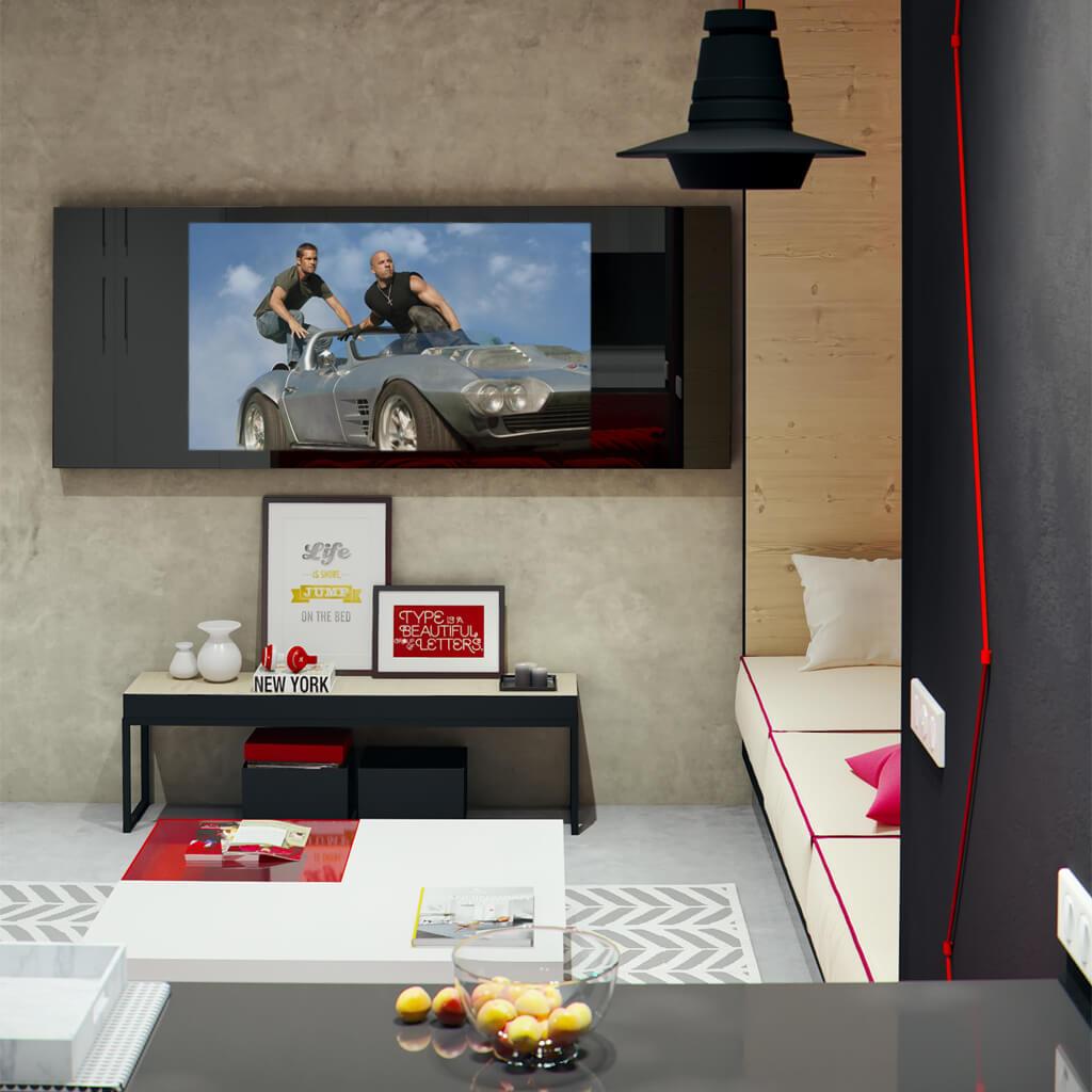 Встроенный телевизор Tele-Art Q70W Black Glass включен