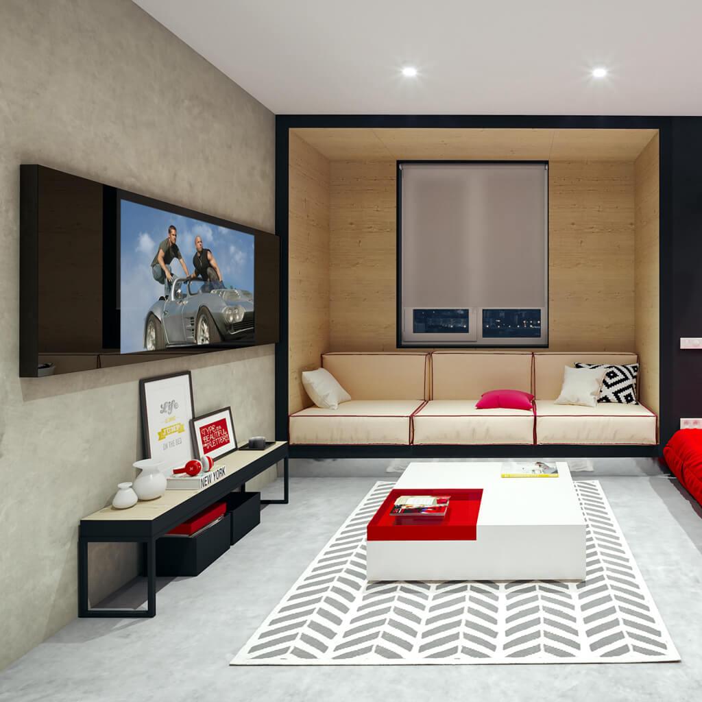 Встроенный телевизор Tele-Art Q70W Black Glass в гостиной