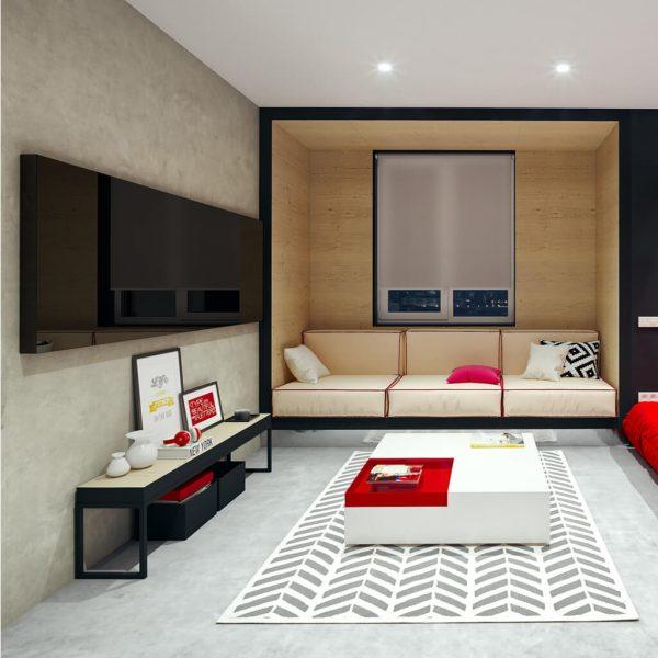 Встроенный телевизор Tele-Art Q6W Black Glass в гостиной выключен