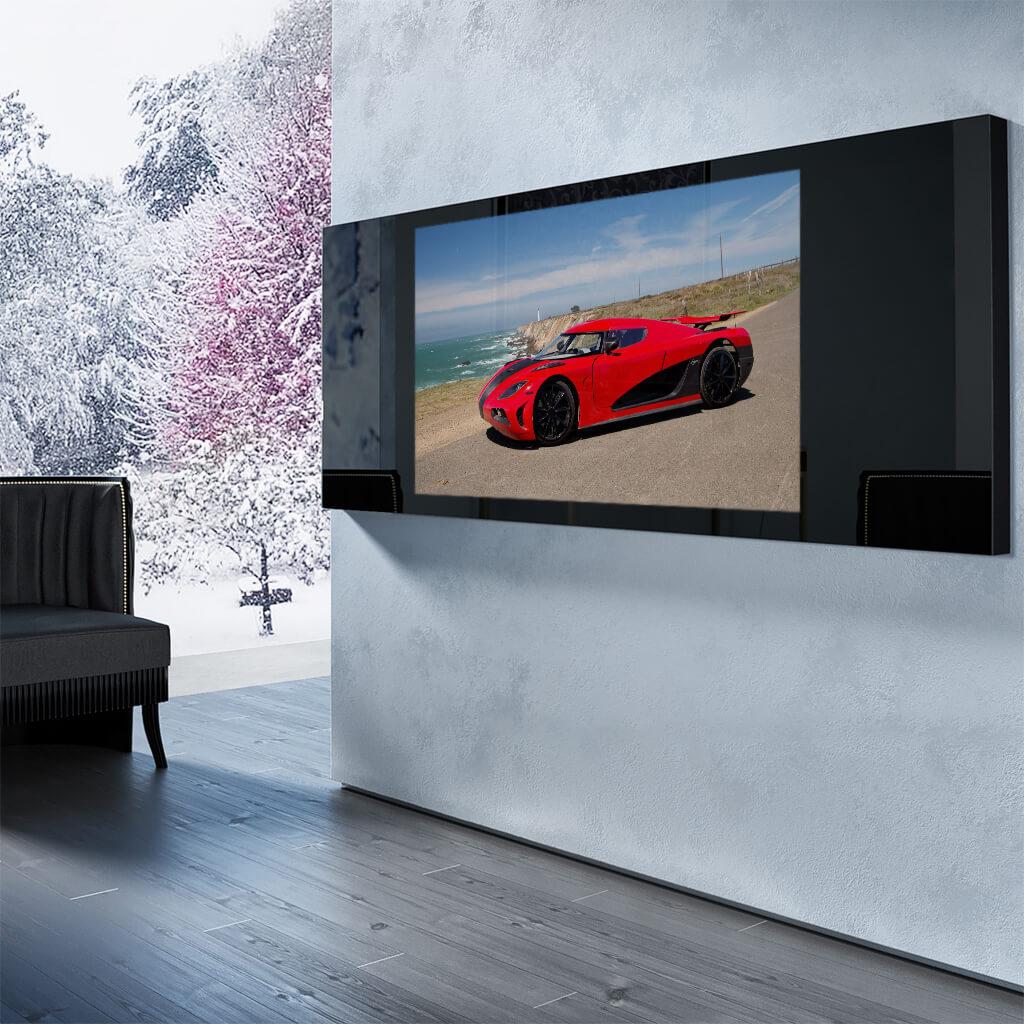 Встроенный телевизор Tele-Art Q70W Black Glass включенный