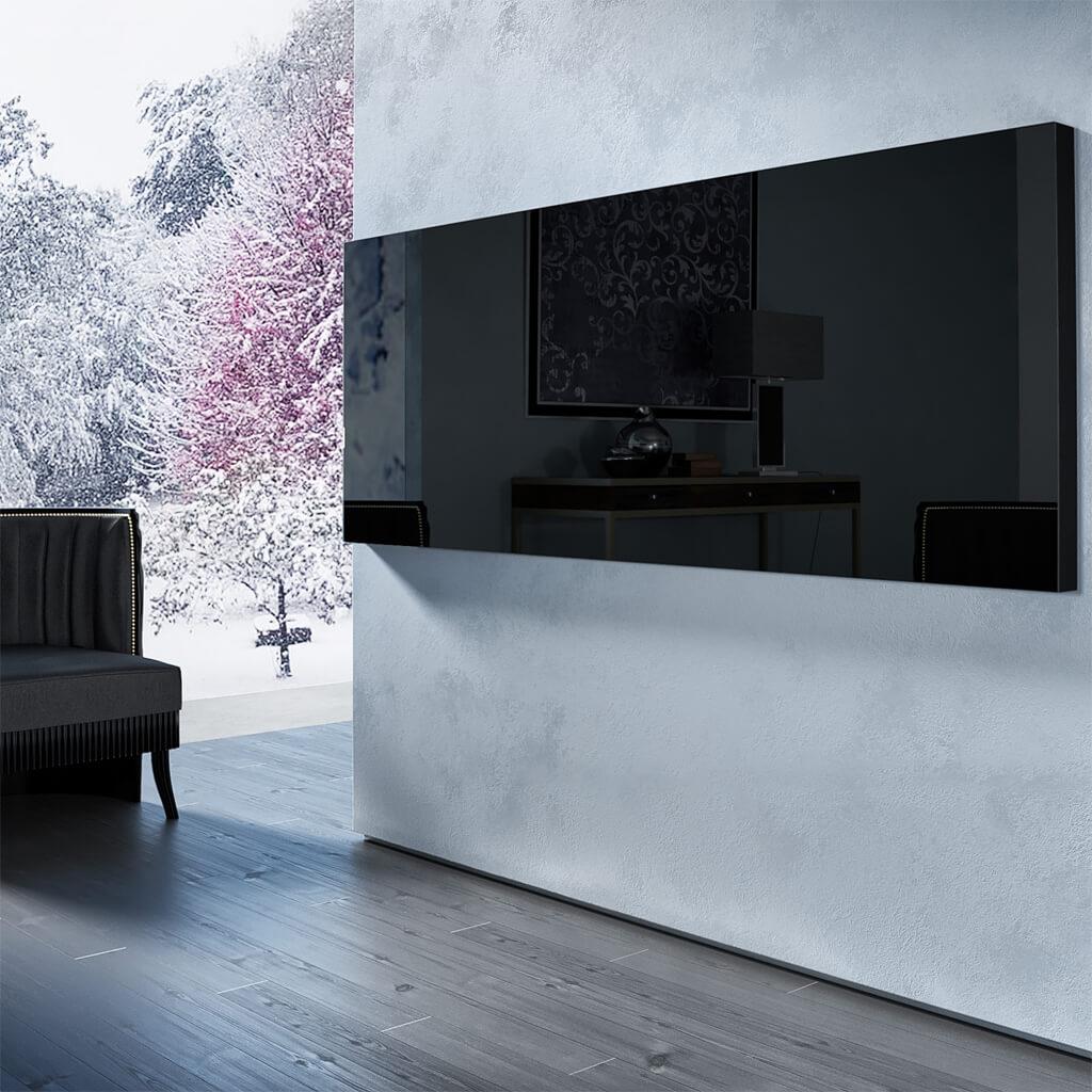 Встроенный телевизор Tele-Art Q6W Black Glass в выключенном состоянии