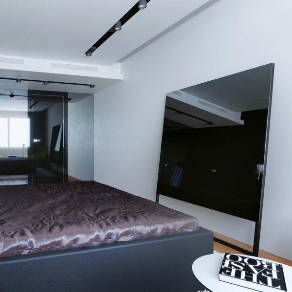 Зеркальный телевизор Tele-Art Q6SM Black Mirror выключен в спальне
