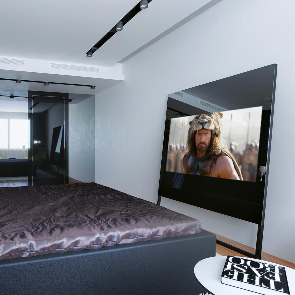 Зеркальный телевизор Tele-Art Q6SM Black Mirror включен