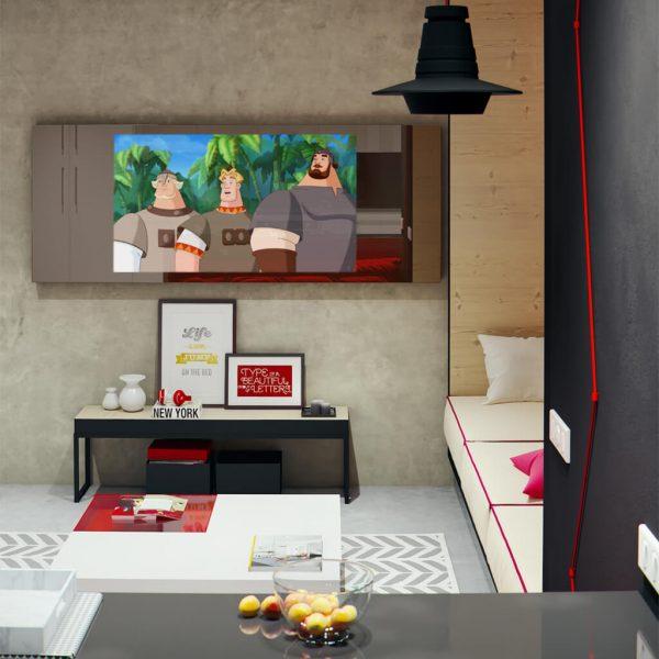 Зеркальный телевизор Tele-Art Q6W Bronze Mirror включен