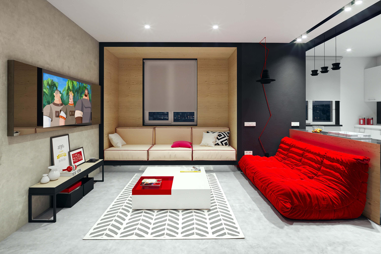 Зеркальный телевизор Tele-Art Q6W Bronze Mirror в гостиной включен