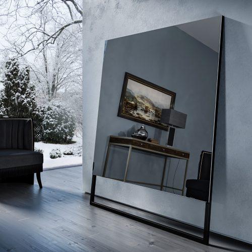 Зеркальный телевизор Tele-Art Soft Minimalism Black Mirror в выключенном состоянии