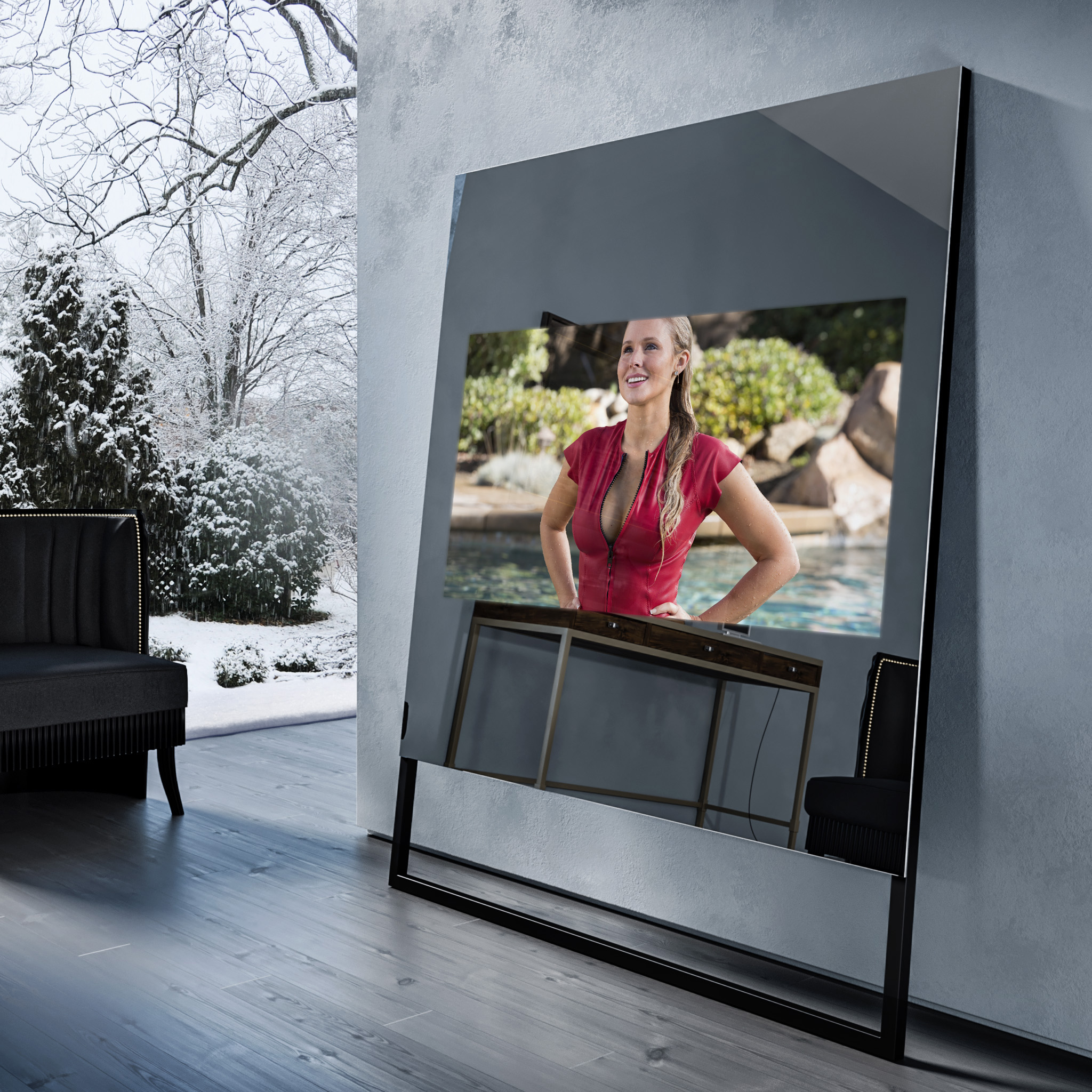 Зеркальный телевизор Tele-Art Soft Minimalism Grafit Mirror