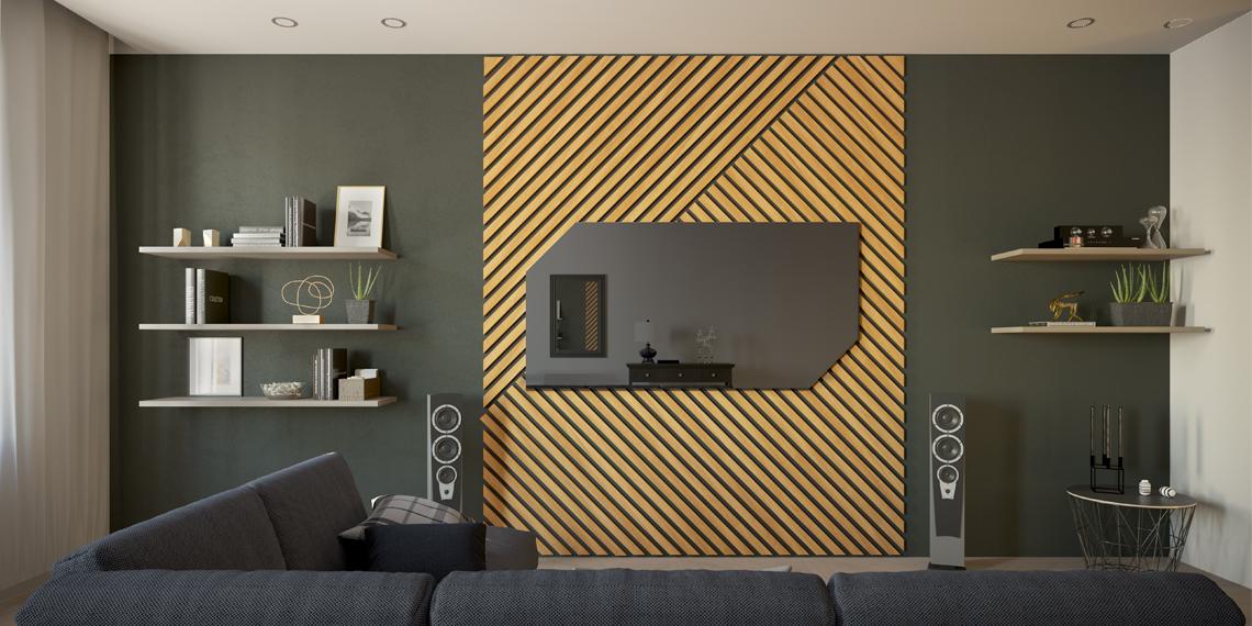 Зеркальный телевизор с рейками в гостиной