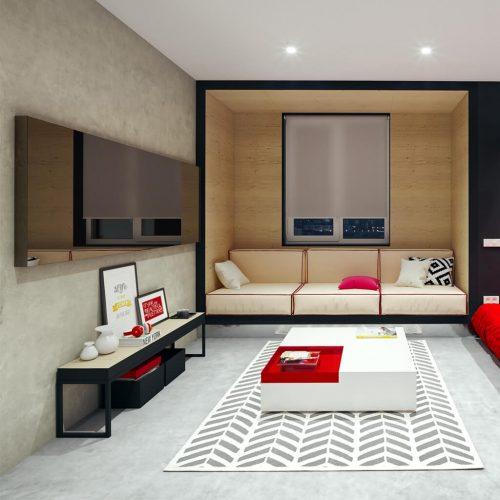 Зеркальный телевизор Tele-Art Q6W Bronze Mirror выключен в гостиной