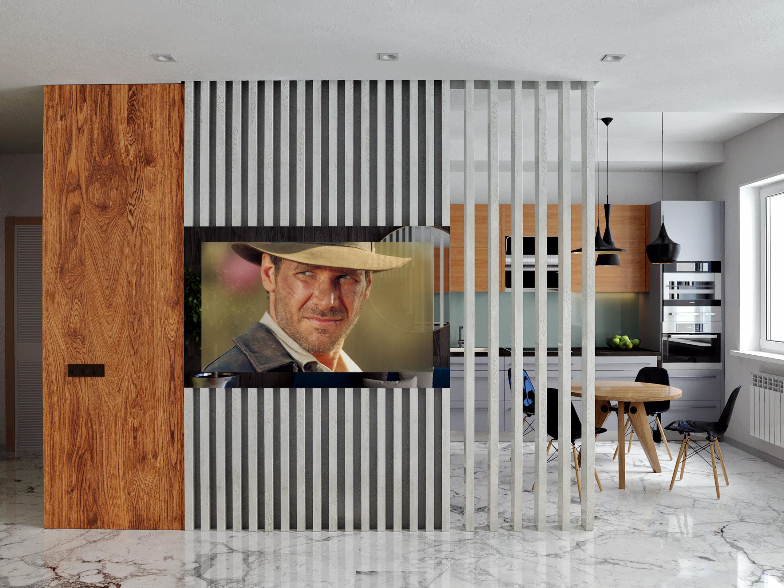 Зеркальный телевизор с деревянными рейками в студии