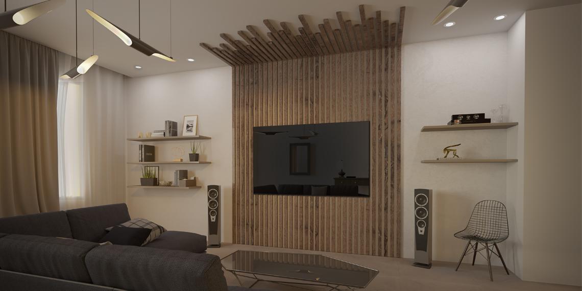 выключенный встроенный телевизор с деревянными рейками в гостиной