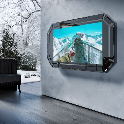 Зеркальный телевизор Tele-Art «Diamond Frame» 49″ Q7D Grafit Mirror