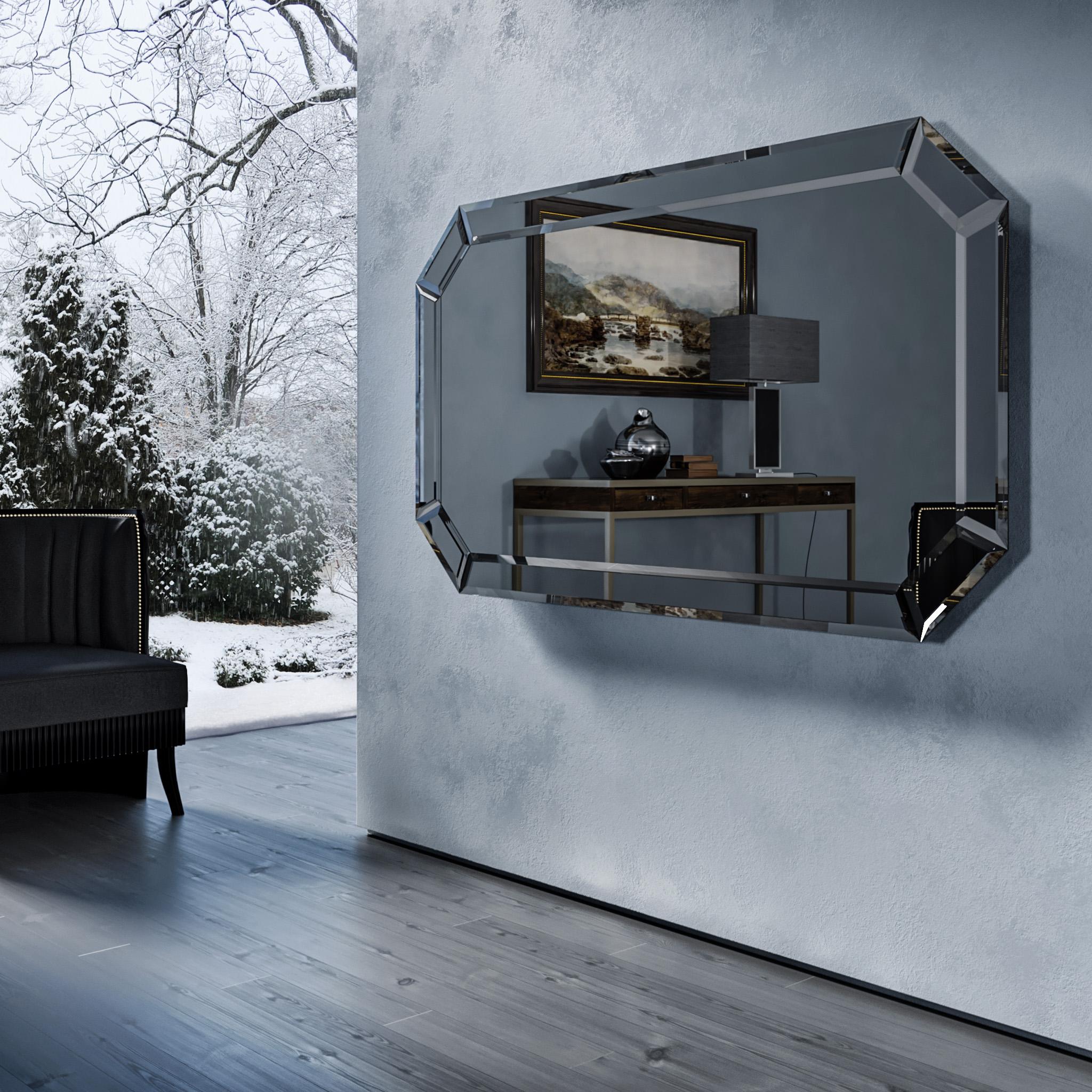 Зеркальный телевизор Tele-Art Diamond Frame Q7D Grafit Mirror в выключенном состоянии