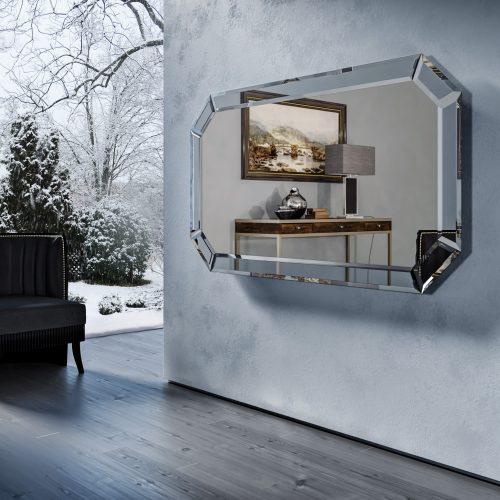 Зеркальный телевизор Tele-Art Diamond Frame Q7D Light Mirror в выключенном состоянии