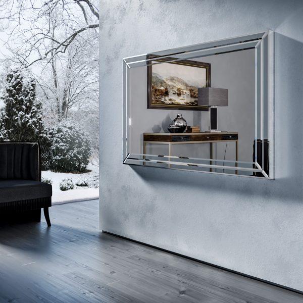 Зеркальный телевизор Tele-Art Q70B Crystal Frame Light Mirror в выключенном состоянии